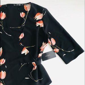 Zara Floral Print Wrap Blouse NWT Large